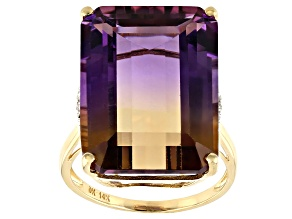 Bi-Color Ametrine 14k Yellow Gold Ring 17.12ctw