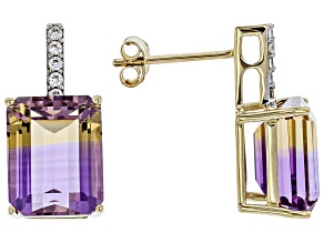 Bi-Color Ametrine 14k Yellow Gold Earrings 7.37ctw