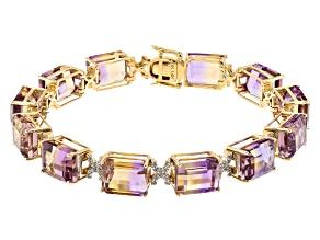 Bi-color Ametrine 14k Yellow Gold Bracelet 42.52ctw