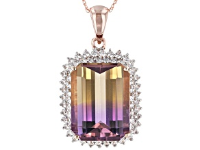 Bi-Color Ametrine 14k Rose Gold Pendant With Chain 11.18ctw