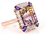 Bi-Color Ametrine 14k Rose Gold Ring 9.86ctw