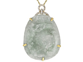 Green Carved Jadeite 14k Yellow Gold Pendant With Chain