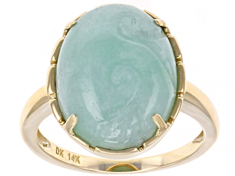 Green Jadeite 14k Yellow Gold Ring