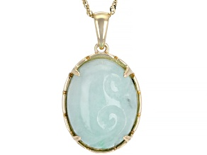 Green Jadeite 14k Gold Pendant With Chain