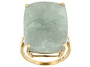 Green Carved Jadeite 14k Yellow Gold Ring 25x18mm