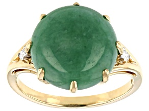 Green Jadeite 14k Yellow Gold Ring .04ctw