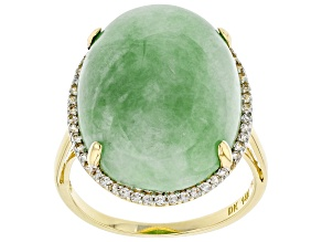 Green Jadeite 14k Yellow Gold Ring