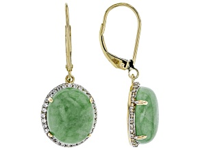 Green Jadeite 14k Yellow Gold Dangle Earrings
