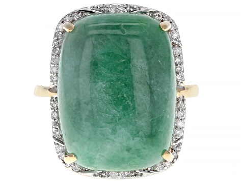 Green Jadeite 14k Yellow Gold Ring .15ctw