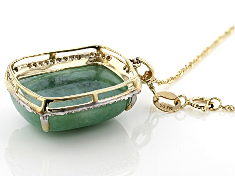 Green Jadeite 14k Yellow Gold Pendant With Chain .16ctw