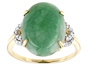 Green Jadeite 14k Yellow Gold Ring .11ctw