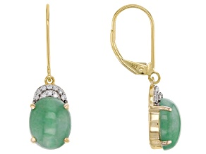 Green Jadeite 14k Yellow Gold Earrings .09ctw