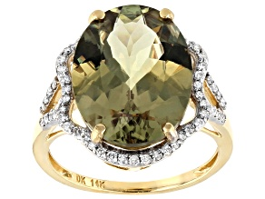 Green Turkish Diaspore 14k Gold Ring 8.11ctw
