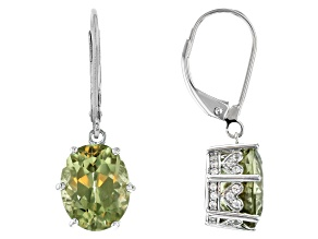 Green Diaspore Rhodium Over 14k White Gold Dangle Earrings 5.69ctw