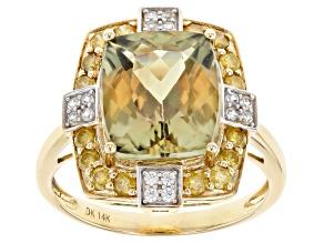 Green Turkish Diaspore 14k Yellow Gold Ring 5.21ctw