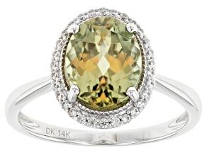 Green Diaspore Rhodium Over 14k White Gold Ring 2.95ctw