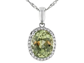 Green Turkish Diaspore Rhodium Over 14k White Gold Pendant With Chain 2.77ctw