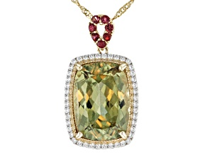 Green Turkish Diaspore 14k Yellow Gold Pendant With Chain 5.94ctw