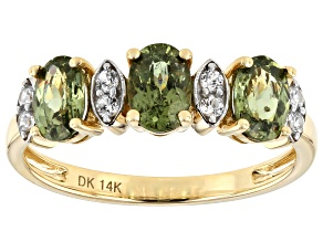 Green Demantoid Garnet 14k Yellow Gold Ring 1.73ctw
