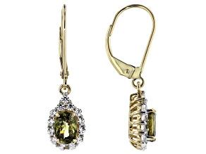 Green Demantoid Garnet 14k Yellow Gold Dangle Earrings 1.66ctw