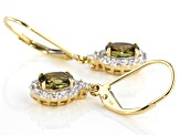 Green Demantoid Garnet 14k Yellow Gold Dangle Earrings 1.66ctw