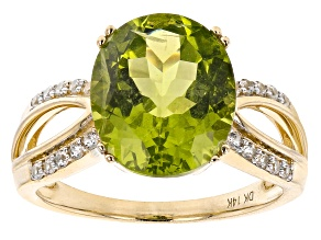 Green Peridot 14k Yellow Gold Ring 4.77ctw