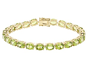 Green Peridot 14k Yellow Gold Tennis Bracelet 17.34ctw