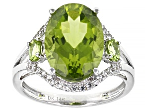 Green Peridot Rhodium Over 14k White Gold Ring 6.13ctw
