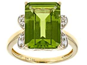 Green Peridot 14k Yellow Gold Ring 6.16ctw