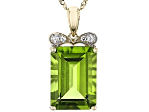 Green Peridot 14k Yellow Gold Pendant With Chain 7.66ctw