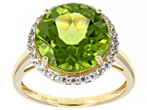 Green Peridot 14k Yellow Gold Ring 6.35ctw