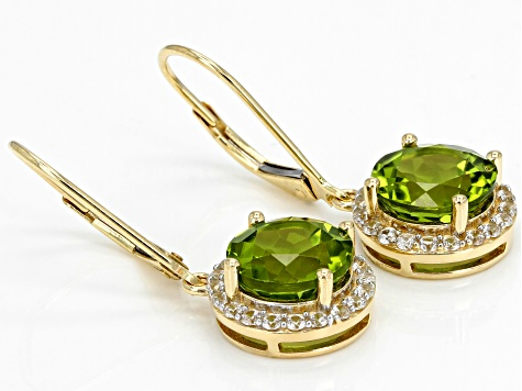 Green Peridot 14k Yellow Gold Earrings 4.24ctw