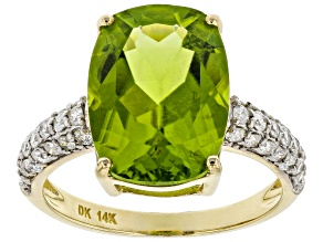 Green Peridot 14k Yellow Gold Ring 6.29ctw