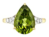 Green Peridot 14k Yellow Gold Ring 4.83ctw