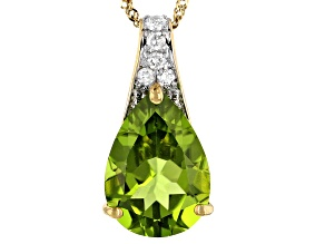 Green Peridot 14k Yellow Gold Pendant with Chain 4.77ctw