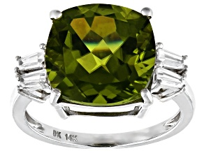 Green Peridot Rhodium Over 14k White Gold Ring 7.62ctw