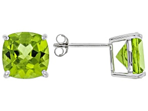 Green Peridot Rhodium Over 14k White Gold Stud Earrings 6.70ctw