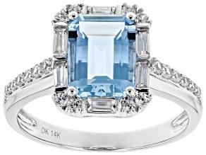 Blue Aquamarine Rhodium Over 14k White Gold Ring 2.41ctw