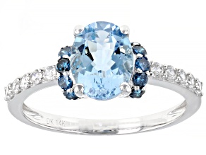 Blue Aquamarine Rhodium Over 14k White Gold Ring 1.92ctw