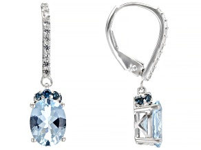Blue Aquamarine Rhodium over 14k White Gold Dangle Earrings 1.88ctw