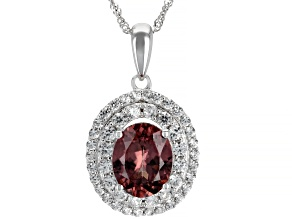 Blush Zircon Rhodium Over 14k White Gold Pendant With Chain 3.68ctw
