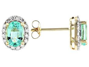 Green Colombian Emerald 14k Yellow Gold Earrings 1.60ctw
