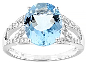 Blue Santa Maria Aquamarine Rhodium Over 14k White Gold Ring 3.38ctw