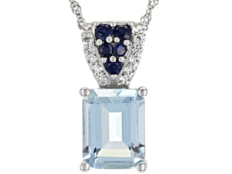 Blue Aquamarine Rhodium Over 14k White Gold Pendant With Chain 1.97ctw