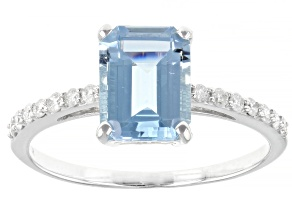 Blue Santa Maria Aquamarine Rhodium Over 14k White Gold Ring 1.87ctw
