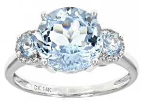 Blue Aquamarine Rhodium Over 14k White Gold Ring 3.41ctw