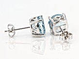 Blue Aquamarine Rhodium Over 14k White Gold Stud Earrings 2.98ctw