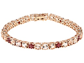 Pink Morganite 14k Rose Gold Bracelet 11.94ctw