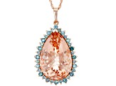 Pink Cor-De-Rosa Morganite™ 14k Rose Gold Pendant With Chain 13.67ctw