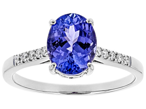 Blue Tanzanite Rhodium Over 14k White Gold Ring 1.58ctw